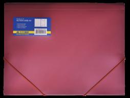 $Папка на резинках, А4, глянцевый непрозр. пластик, красная