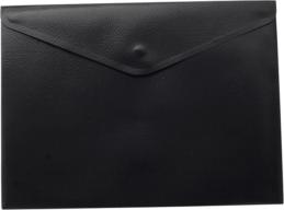 $Папка-конверт, на кнопке, А4, матовый пластик, черная
