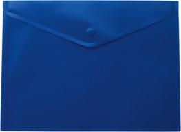 $Папка-конверт, на кнопке, А4, матовый пластик, синяя