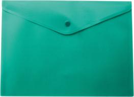 $Папка-конверт, на кнопке, А4, матовый пластик, зеленая