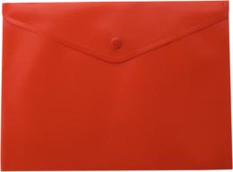 $Папка-конверт, на кнопке, А4, матовый пластик, красная