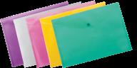 ^$Папка-конверт, на кнопке, А4, глянцевый полупроз.пластик, ассорти