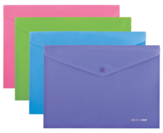 $Папка-конверт, BAROCCO, на кнопке, А4, матовий непрозр. пластик, ассорти
