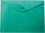 ^$Папка-конверт, на кнопке, А5, матовый полупрозр.пластик, зеленая
