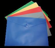 ^$Папка-конверт, на кнопке, А5, ассорти, матовый полупрозр.пластик