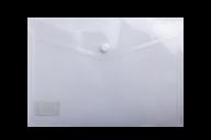 $Папка-конверт, на кнопке, А5, глянцевый прозрачный пластик, прозрачная