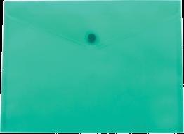 @$Папка-конверт А5 на кнопке, прозрачная, глянцевая, бирюзовый