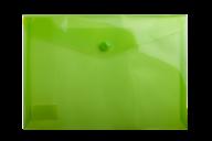 $Папка-конверт, на кнопке, А5, глянцевый прозрачный пластик, салатовая