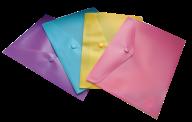 $Папка-конверт, на кнопке, А5, матовый полупрозр.пластик, ассорти