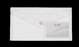 $Папка-конверт TRAVEL, на кнопке, DL, глянцевый прозрачный пластик, прозрачная