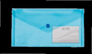 $Папка-конверт TRAVEL, на кнопке, DL, глянцевый прозрачный пластик, синяя