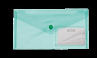 $Папка-конверт TRAVEL, на кнопке, DL, глянцевый прозрачный пластик, зеленая