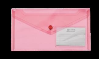 $Папка-конверт TRAVEL, на кнопке, DL, глянцевый прозрачный пластик, красная