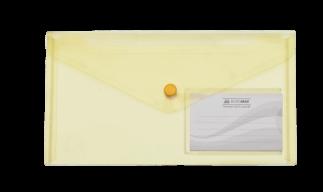 $Папка-конверт TRAVEL, на кнопке, DL, глянцевый прозрачный пластик, желтая