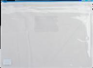 $Папка - конверт на молнии zip-lock, А4, глянцевый прозрачный пластик, синяя молния
