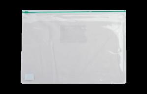 $Папка - конверт на молнии zip-lock, А4, глянцевый прозрачный пластик, зеленая молния
