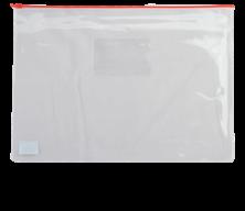 $Папка - конверт на молнии zip-lock, А4, глянцевый прозрачный пластик, красная молния