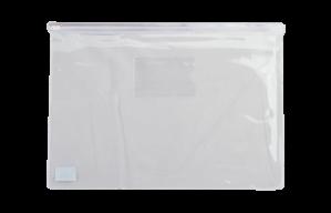 @$Папка - конверт на молнии zip-lock, А4, глянцевый прозрачный пластик, белая молния