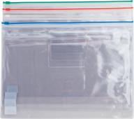 $Папка - конверт на молнии zip-lock, А4, глянцевый прозрачный пластик, цветная, ассорти