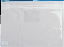$Папка - конверт на молнии zip-lock, А5, глянцевый прозрачный пластик, синяя молния