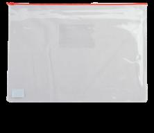 $Папка - конверт на молнии zip-lock, А5, глянцевый прозрачный пластик, красная молния