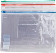 $Папка - конверт на молнии zip-lock, А5, глянцевый прозрачный пластик, цветная, ассорти