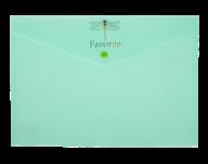 Папка-конверт на кнопке FAVOURITE, PASTEL, A4, мятная