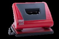 @$Дырокол пластиковый с резиновой вставкой, до 15 л., 124х87х51 мм, красный