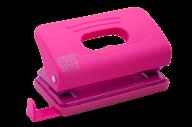 @Дырокол пластиковый, RUBBER TOUCH, до 10 л., 120х58х59 мм, розовый