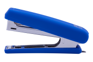 Степлер пластиковый, RUBBER TOUCH, 12 л., (скобы №10), 107х25х54 мм, синий