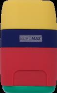 Ластик + Точилка RAINBOW, RUBBER TOUCH, 2 отв., контейнер, пластик.корпус