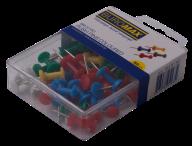 Кнопки-гвоздики цветные, 50 шт. в пласт.коробке