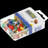 Кнопки цветные, пластиковые головки, 100 шт. в пласт. коробке