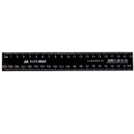 Линейка пластиковая, JOBMAX, 20 см, черная, инд. упаковка