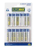 ^Набор эл.питания (батарейка) BUROMAX LR6 (AA), 12шт/упак
