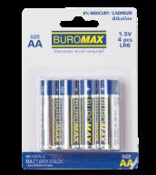 ^Набор эл.питания (батарейка) BUROMAX LR6 (AA), 4шт/упак