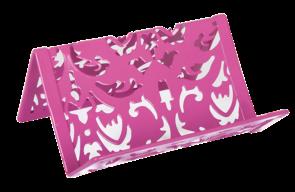 Подставка для визиток, BAROCCO, металлическая, розовая