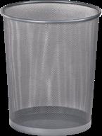 $Корзина для бумаг, 19 л., круглая, металлическая, серебристая