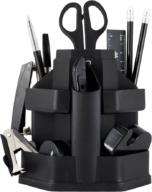 Набор настольный, JOBMAX, с наполнением (16 предметов), пластиковый, черный