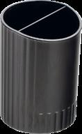 /Стакан пластиковый для письменных принадлежностей на два отделения, JOBMAX, черный