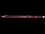 Карандаш графитовый ORANGE LINE, НВ,  с ластиком, трехгранный, ассорти, с оранжевой полоской, туба