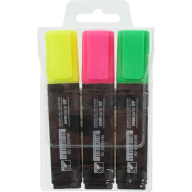 Набор из 3х текст-маркеров (желт., зел., роз.), JOBMAX, 2-4 мм, водная основа