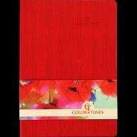 Блокнот деловой COLOR TUNES, А5, 96 л., нелинов., красный, иск.кожа