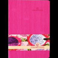 Блокнот деловой COLOR TUNES, А5, 96 л., нелинов., розовый, иск.кожа