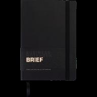 Блокнот деловой BRIEF, L2U, А5, 96 л., нелинов., черный, иск.кожа