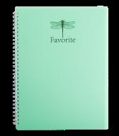 /Тетрадь для записей FAVOURITE, PASTEL, А4, 80 л., клетка, пластиковая обложка, мятная
