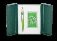 """@$Набор подарочный """"Crystal Heart"""": ручка шариковая + визитница, зеленый"""