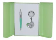 """Набор подарочный """"Love"""": ручка шариковая + брелок, зеленый"""