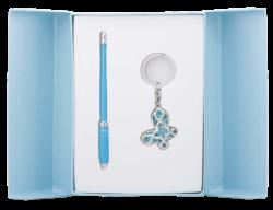 """@$Набор подарочный """"Night Moth"""": ручка шариковая + брелок, синий"""