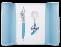 """@$Набор подарочный """"Goldfish"""": ручка шариковая + брелок, синий"""
